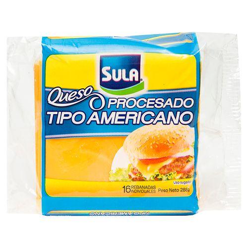 Queso Sula Procesado Tipo Americano Rodajas - 288Gr